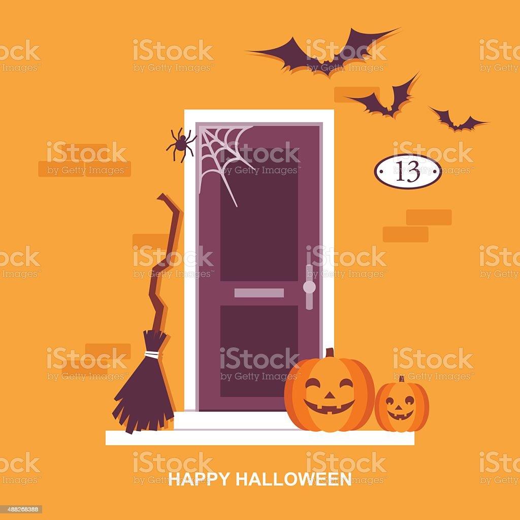 Halloween front door decorations vector art illustration