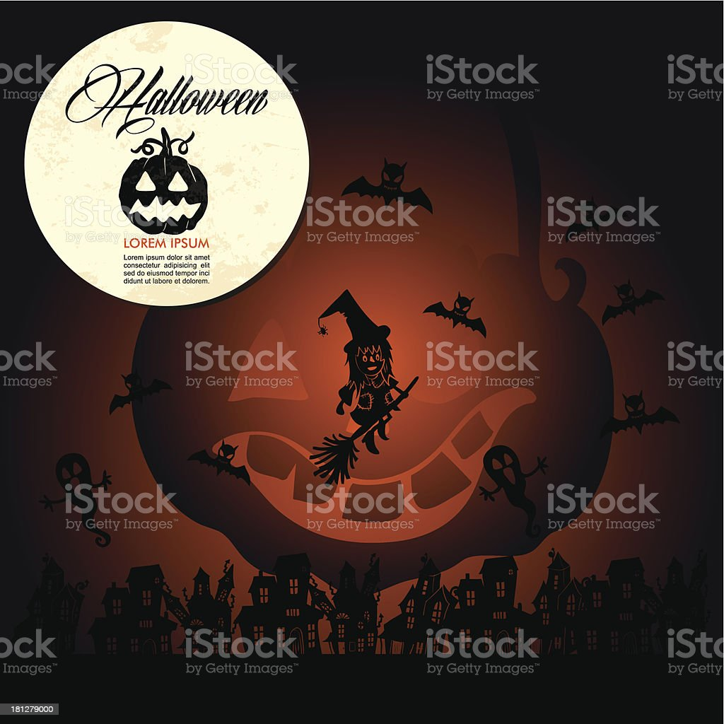 Halloween full moon pumpkin flying witch and bats, customizable text. royalty-free stock vector art