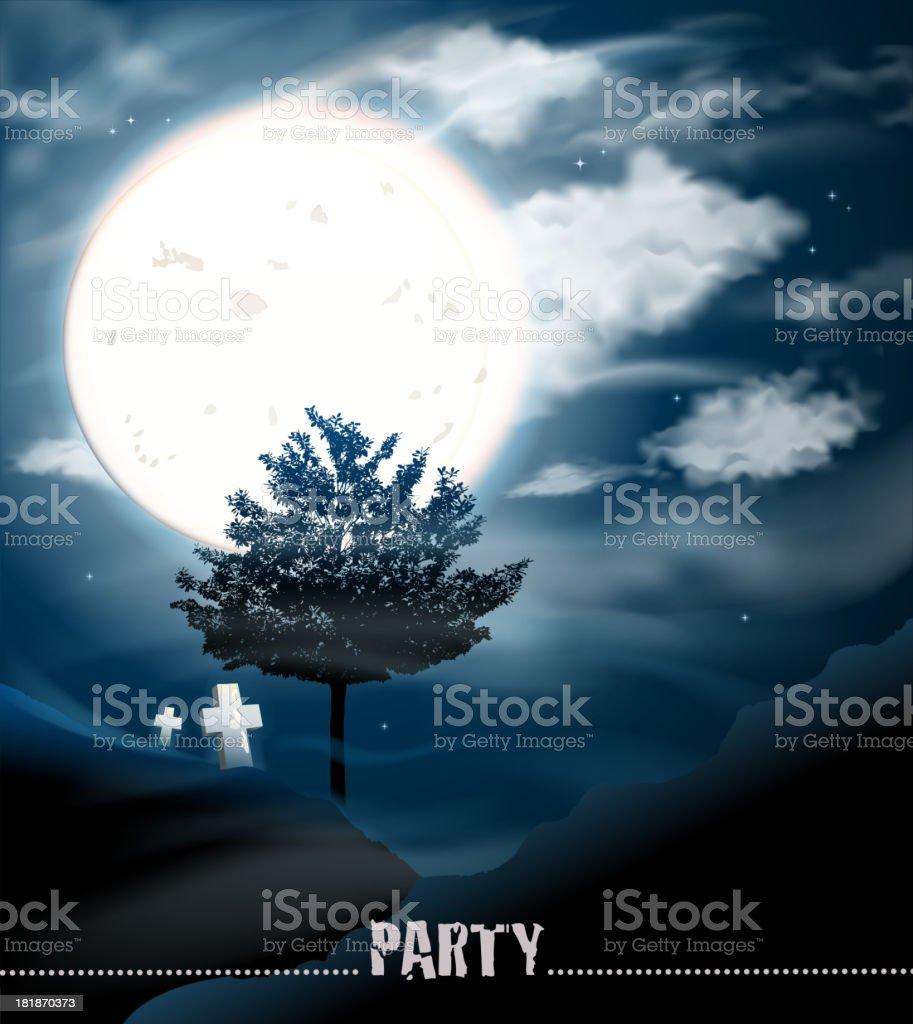 halloween full moon scenic royalty-free stock vector art
