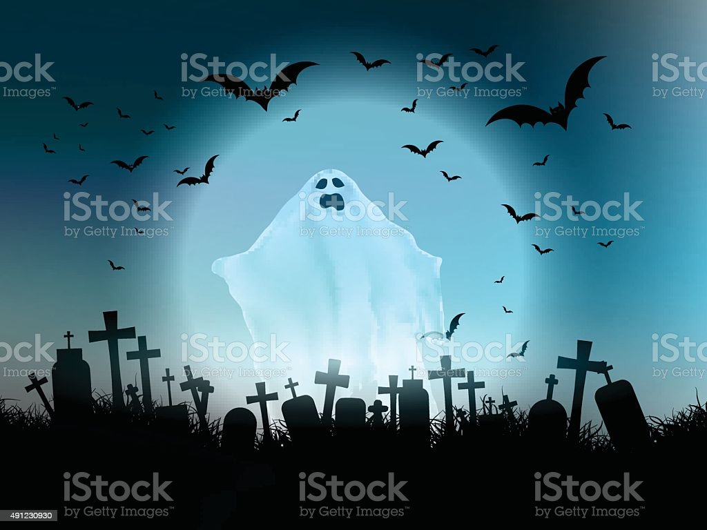 Halloween ghost landscape vector art illustration