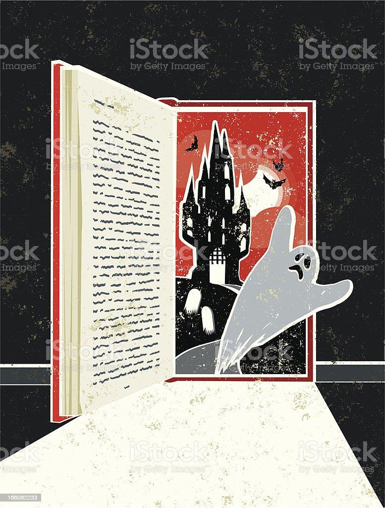 Halloween Ghost Story Book Doorway royalty-free stock vector art