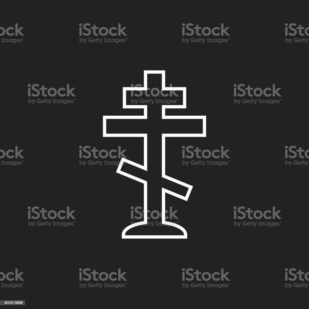 Halloween grave icon in line style. Gravestone vector illustration. Rip tombstone flat icon. vector art illustration