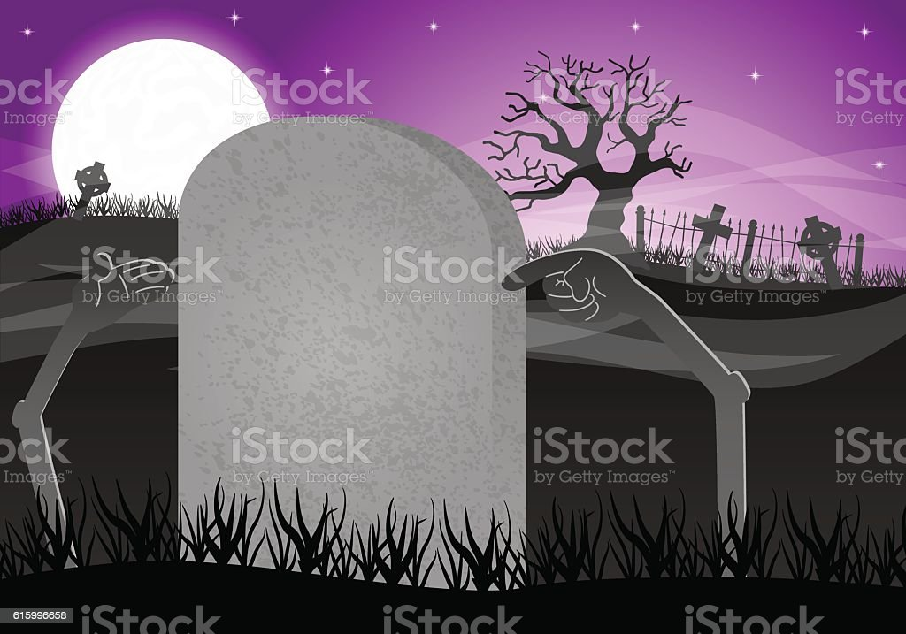 halloween grave stone to write on vector art illustration