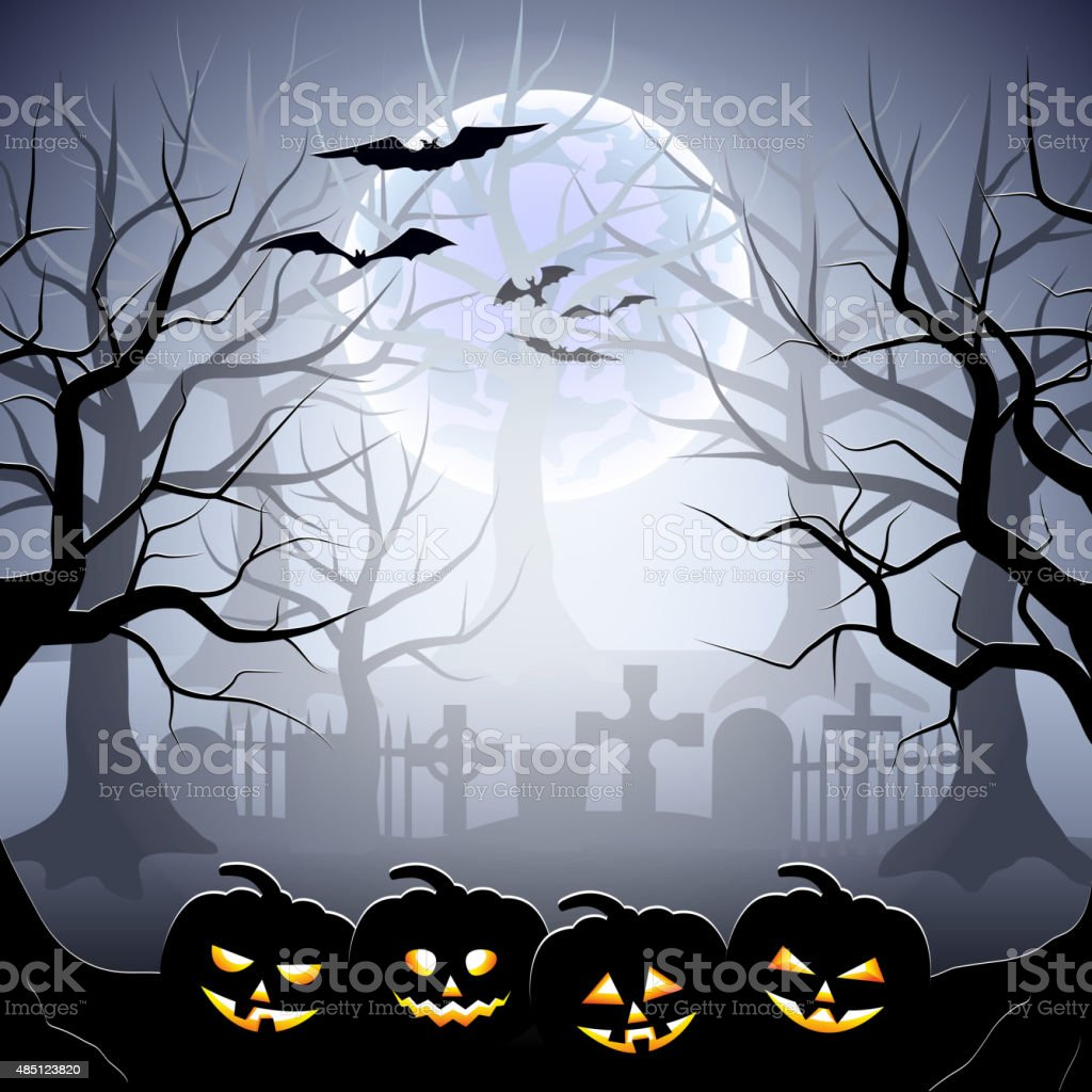 Halloween graveyard and pumpkins in foggy forest vector art illustration