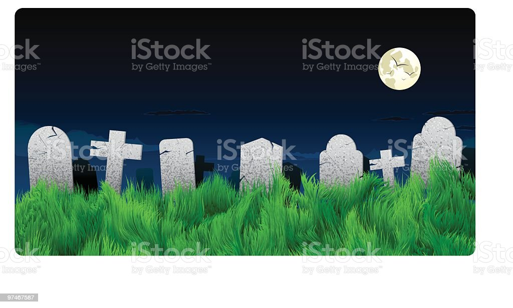 Halloween Graveyard and Tombstone Background vector art illustration