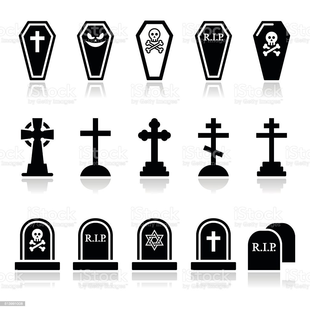 Halloween, graveyard icons set - coffin, cross, grave vector art illustration