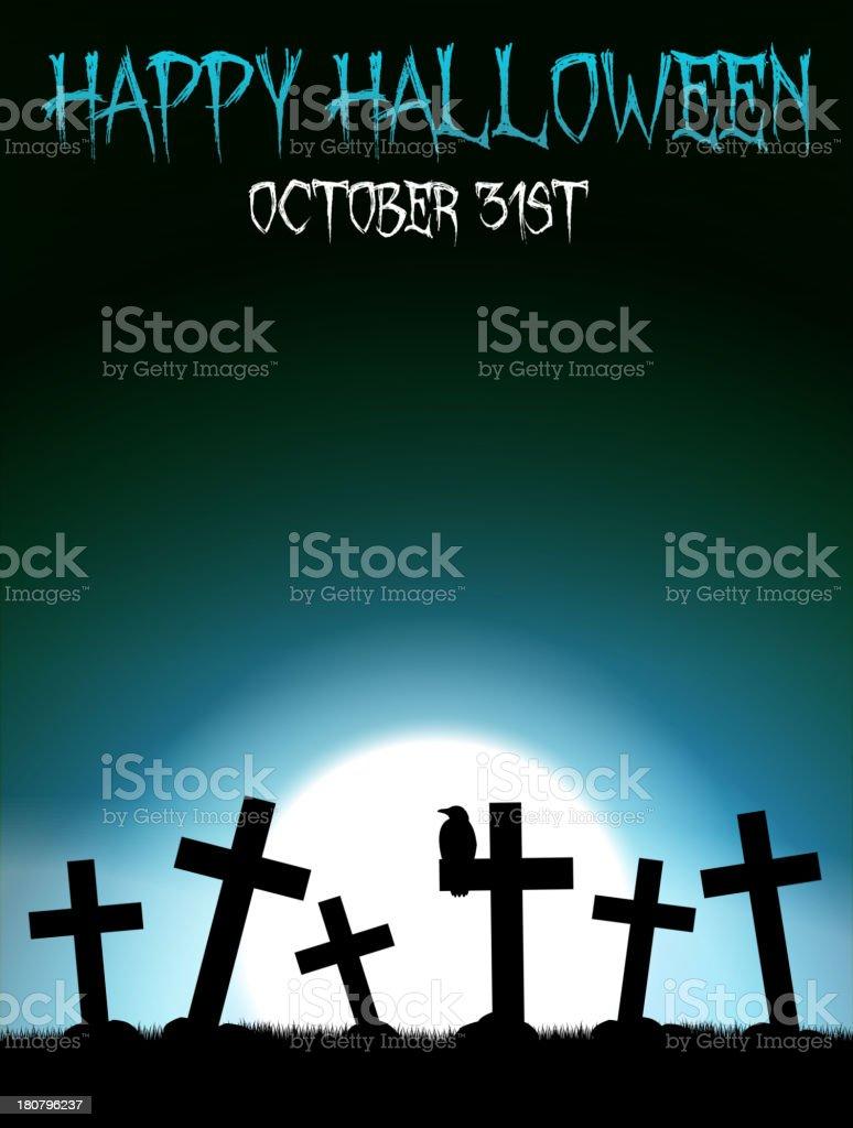 Halloween graveyard with crosses royalty-free stock vector art