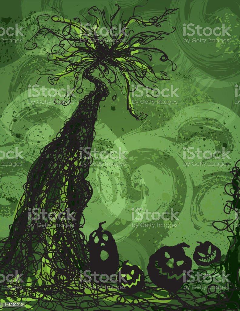 Halloween haunted forest tree and pumpkins vector art illustration