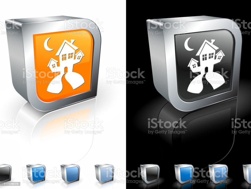 Halloween haunted house 3D royalty free vector art royalty-free stock vector art