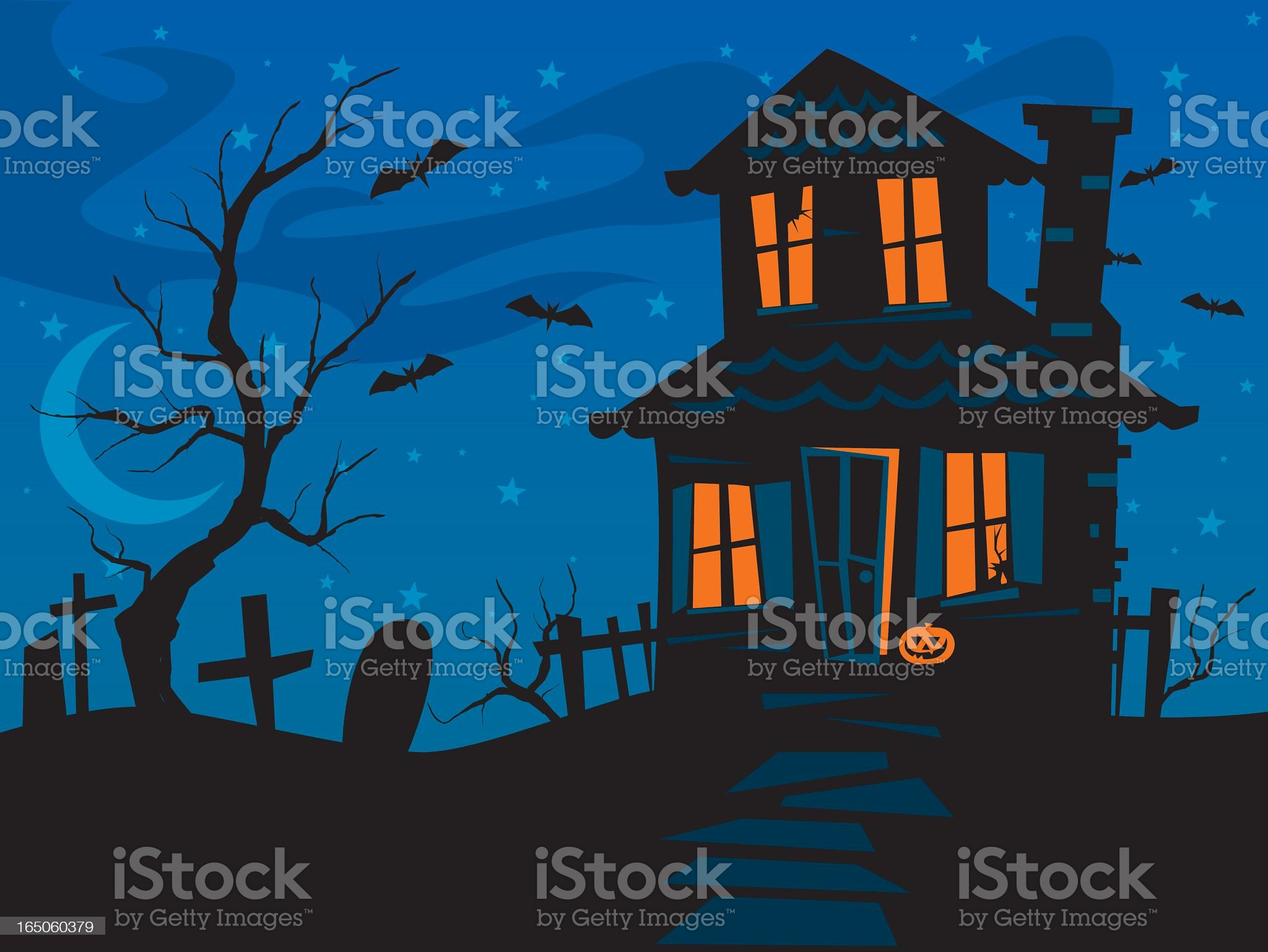 Halloween haunted house at night with bats and tombstones royalty-free stock vector art