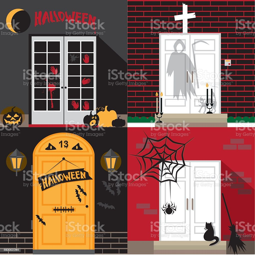 Halloween holiday door vector art illustration