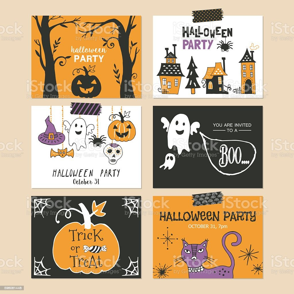 Halloween holiday party invitation and greeting template set. vector art illustration