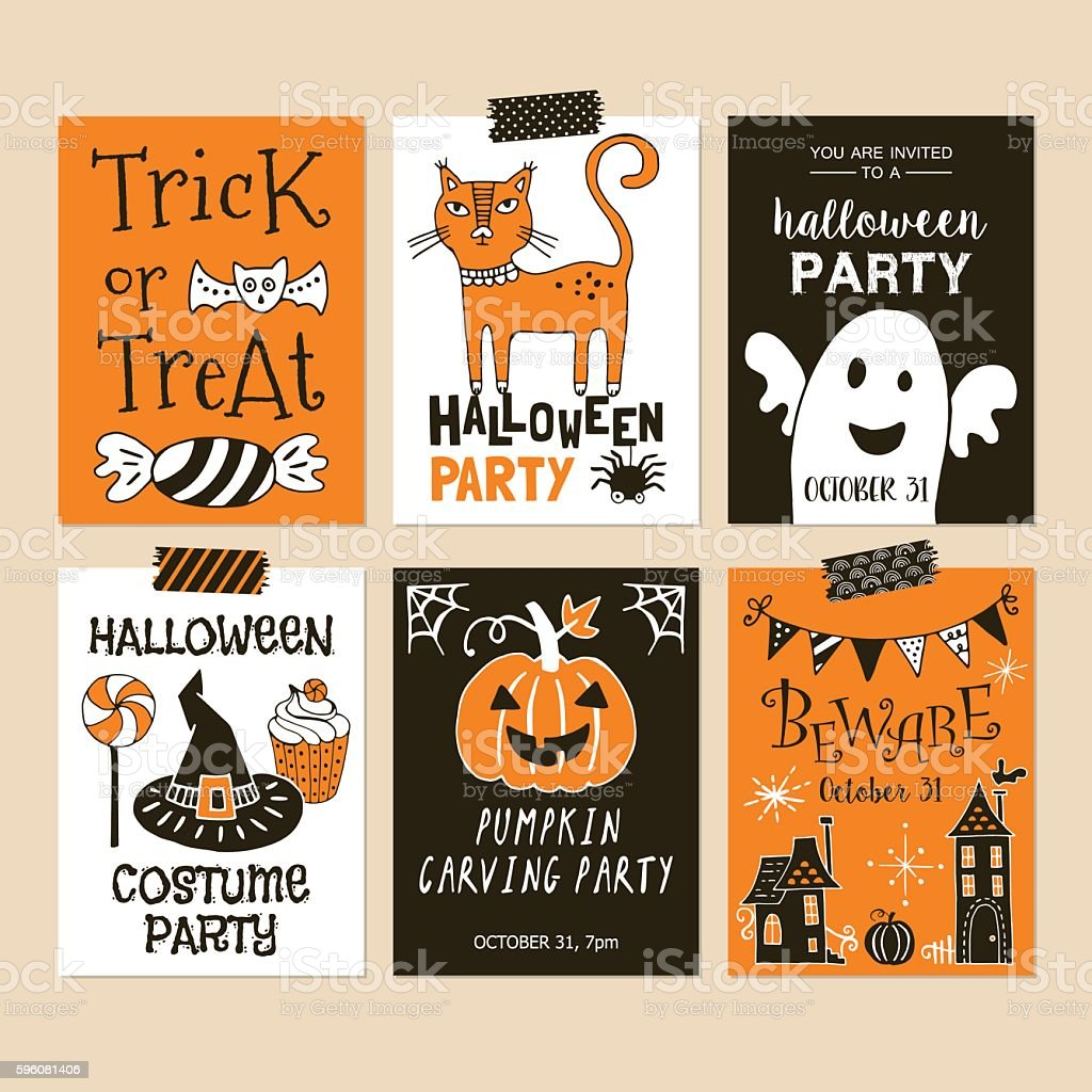 Halloween holiday party invitation template set. Hand drawing vector art illustration