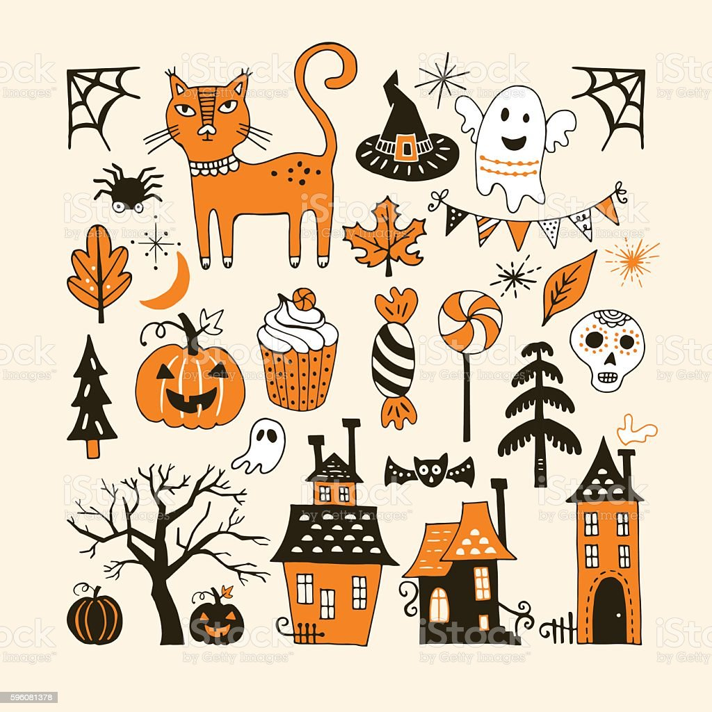 Halloween holiday set with hand drawing elements for graphic vector art illustration