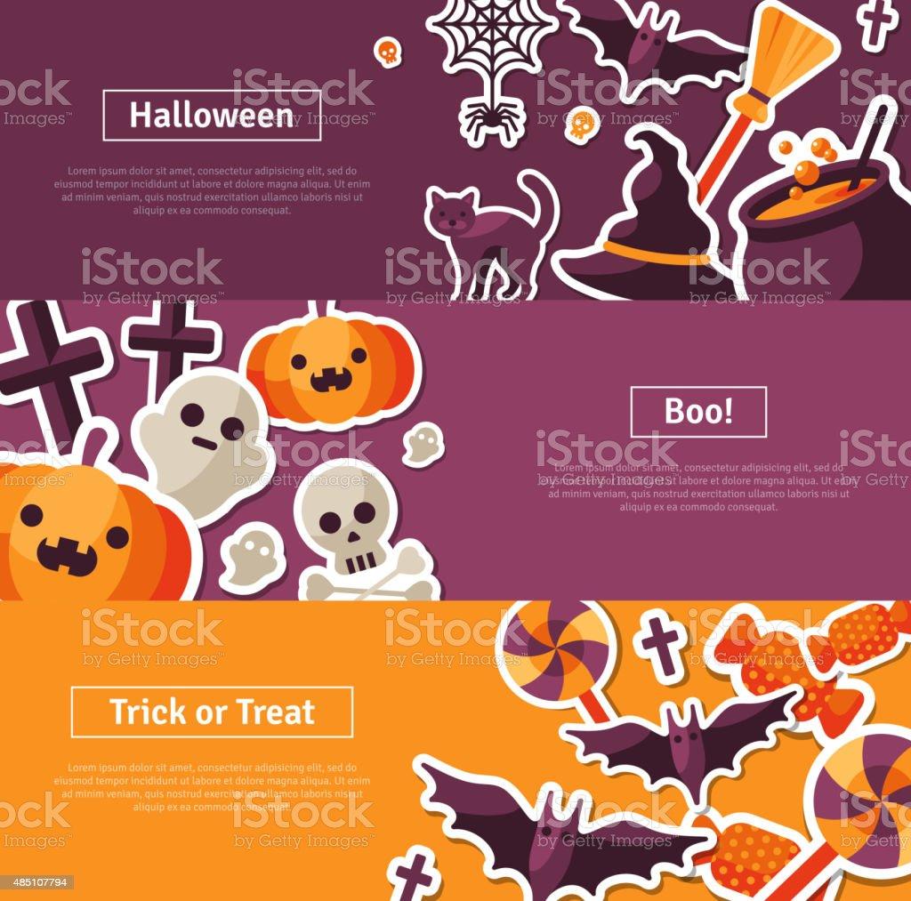 Halloween Horizontal Banners. Flat Icons. vector art illustration