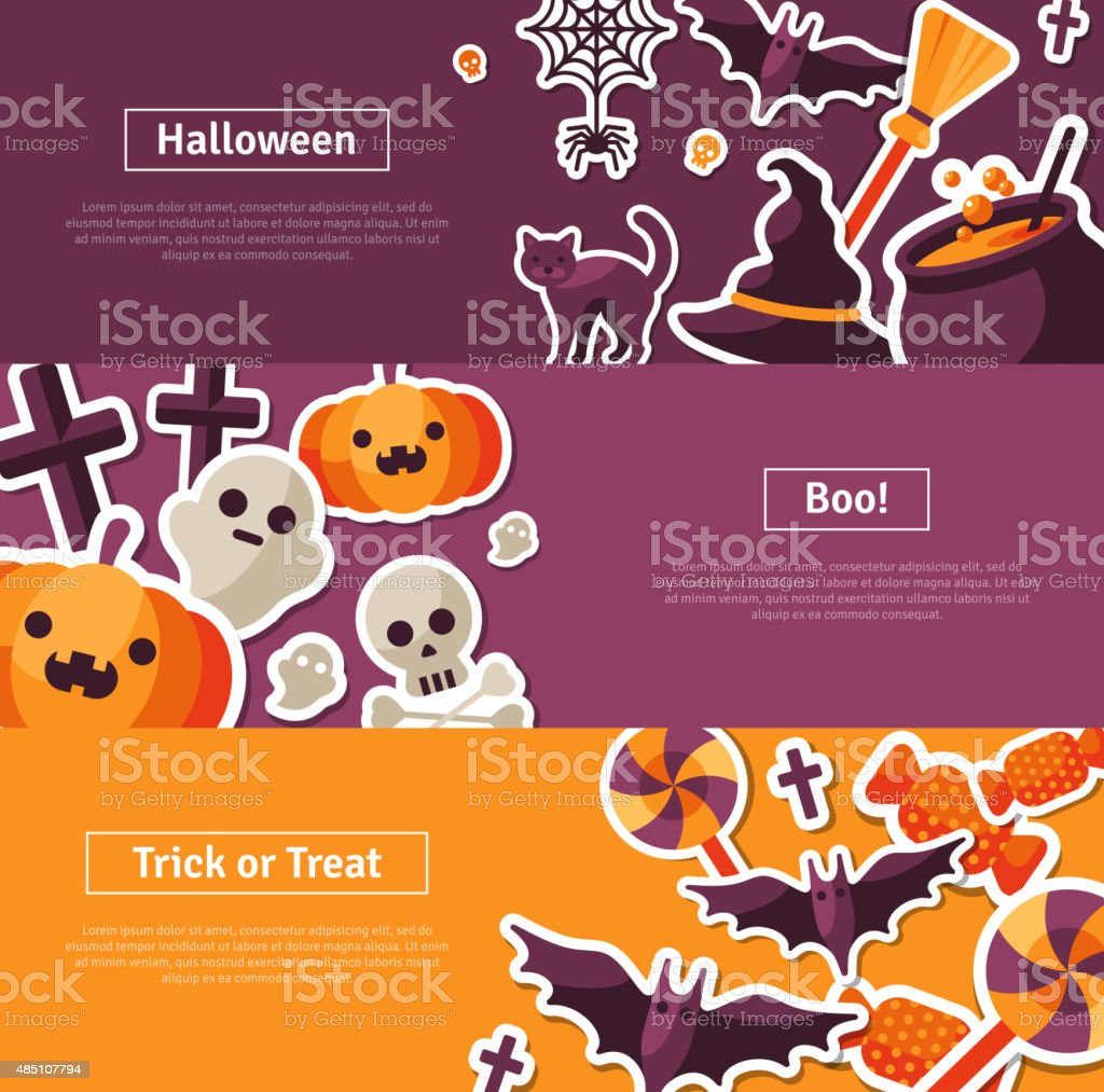Halloween Horizontal Banners. Flat Icons. vector art illustration