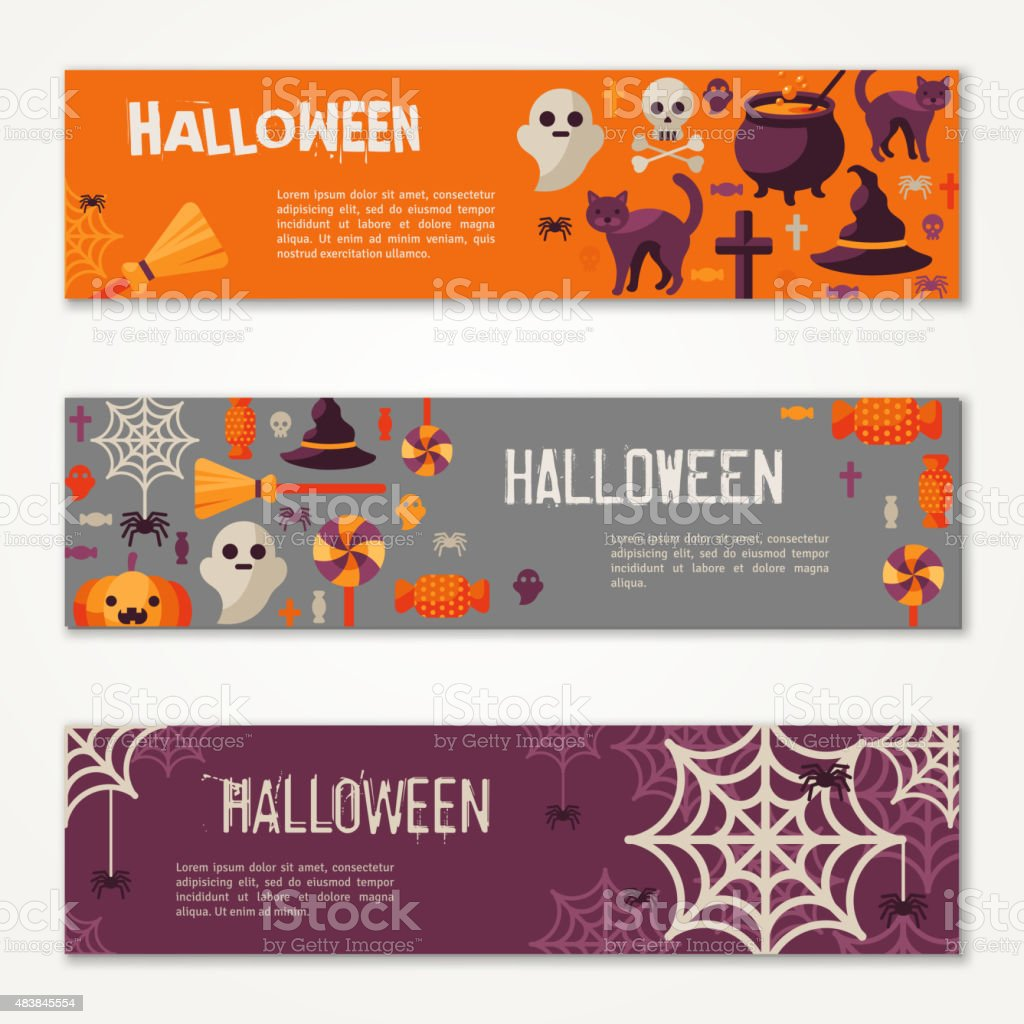 Halloween Horizontal Banners or Flyers. vector art illustration