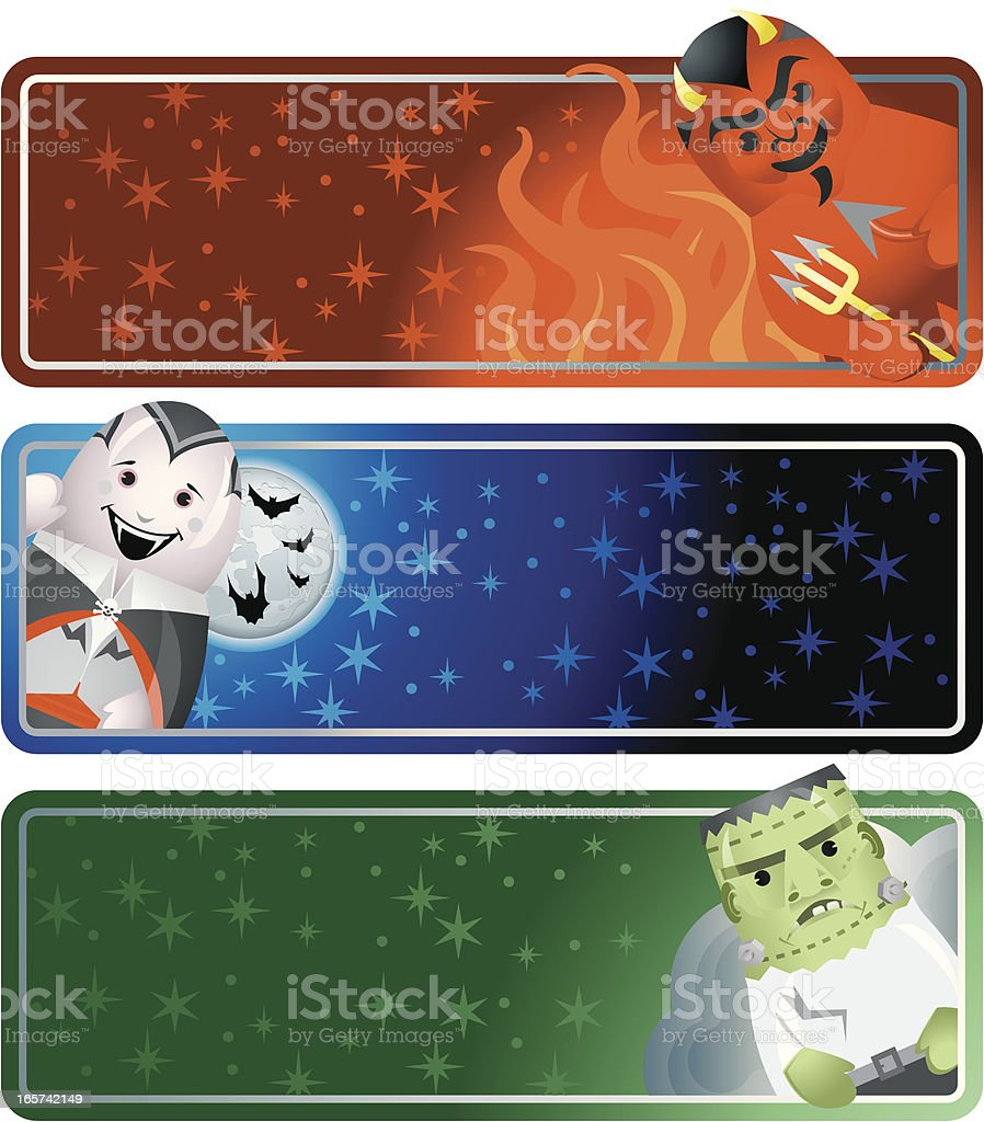 Halloween Horizontal Banners with Devil Vampire and Monster royalty-free stock vector art