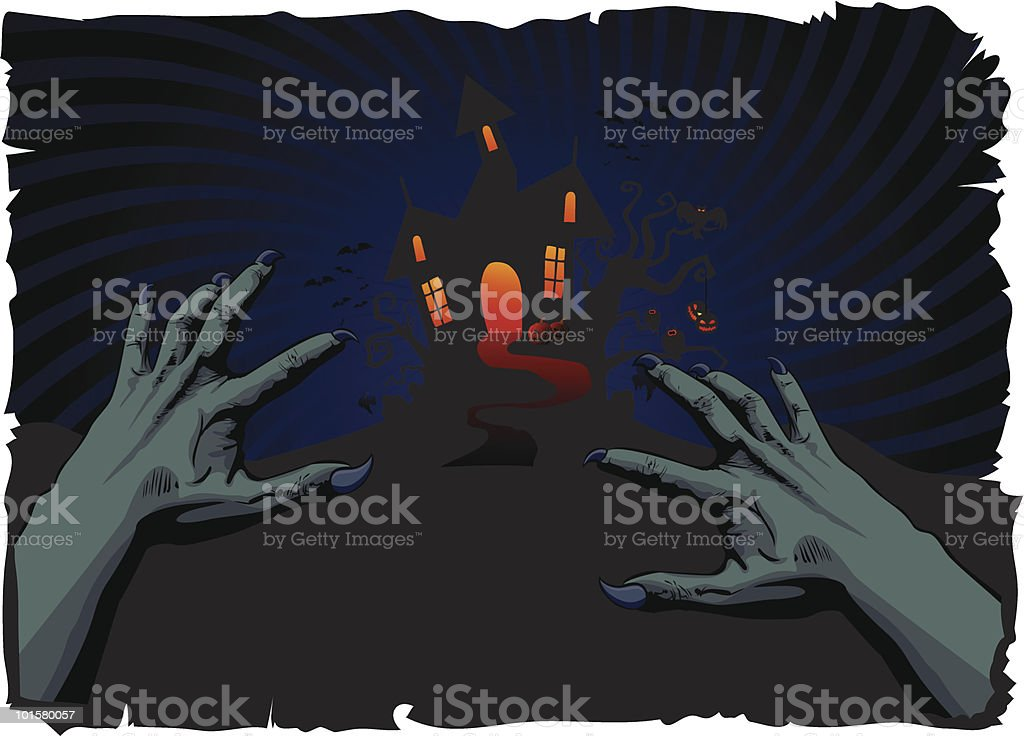 halloween house and zombie's hands royalty-free stock vector art