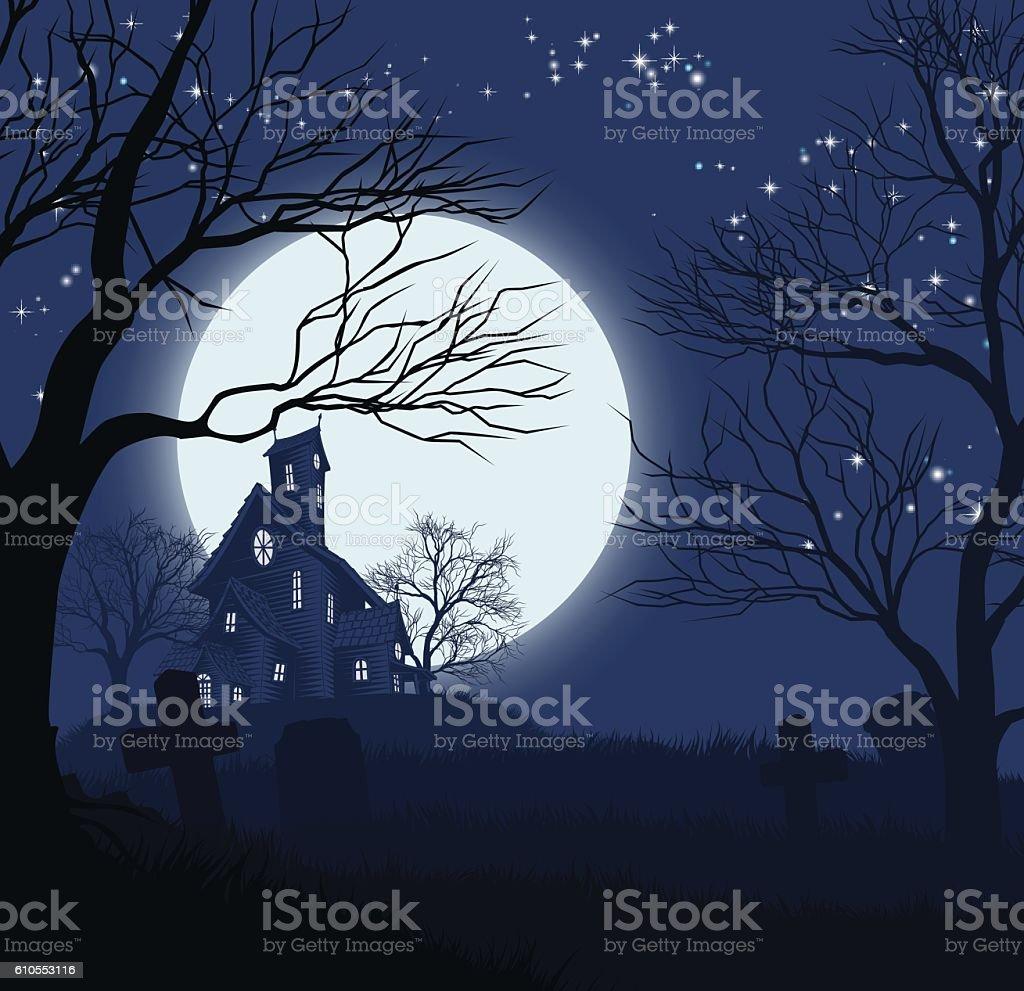 Halloween House Background vector art illustration