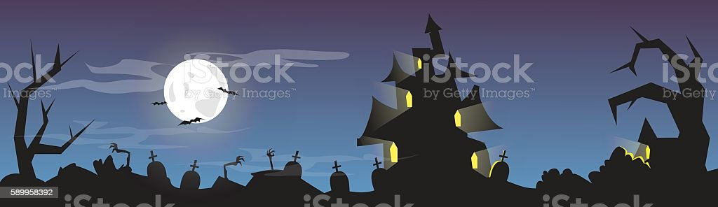 Halloween House Cemetery Graveyard Card Banner vector art illustration
