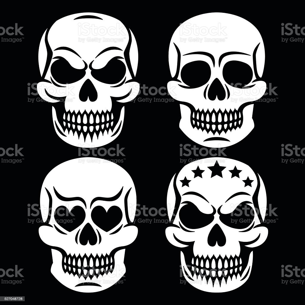 Halloween human skulls - death, Day of the Dead vector art illustration