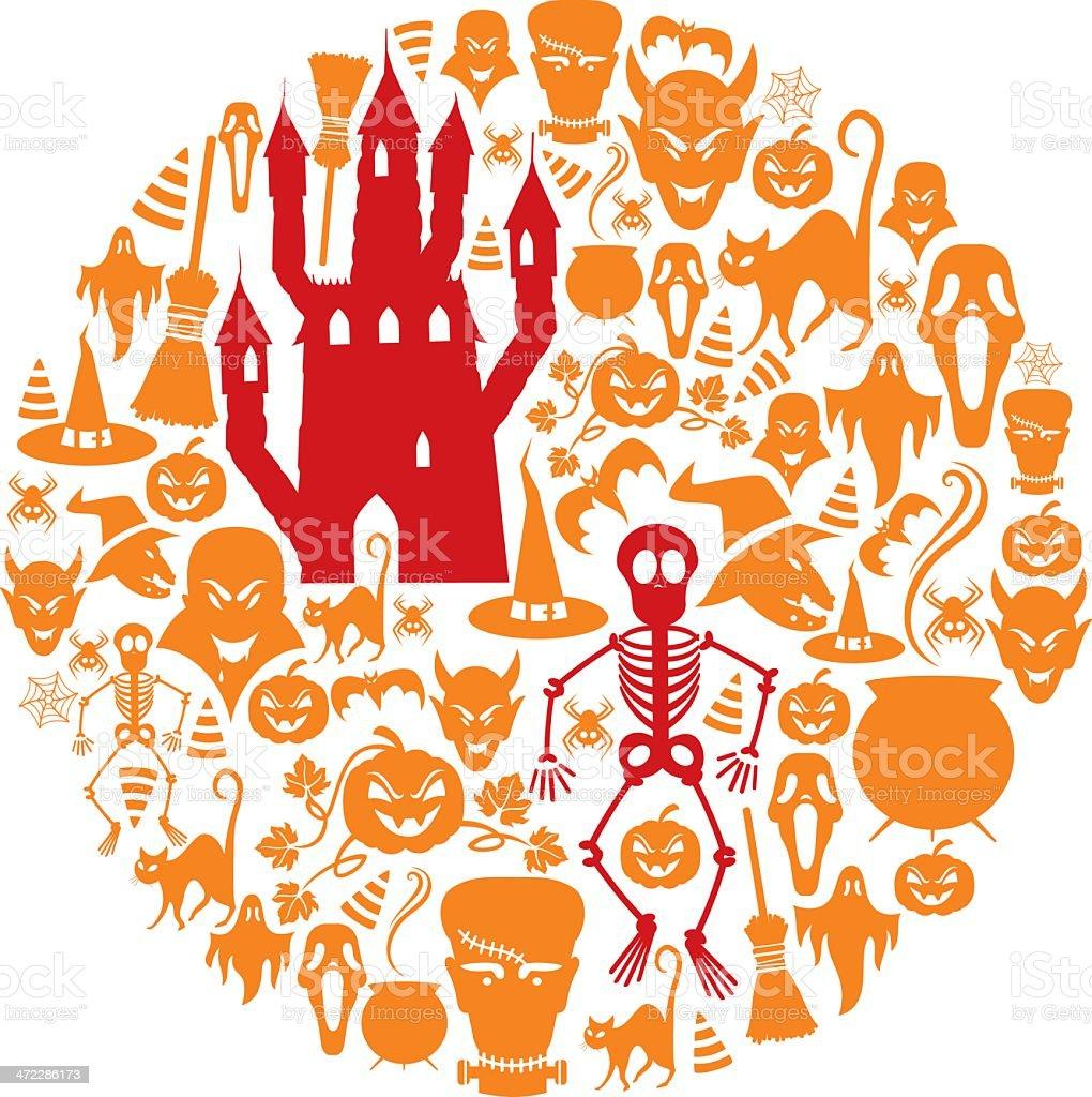 Halloween Icon Montage vector art illustration