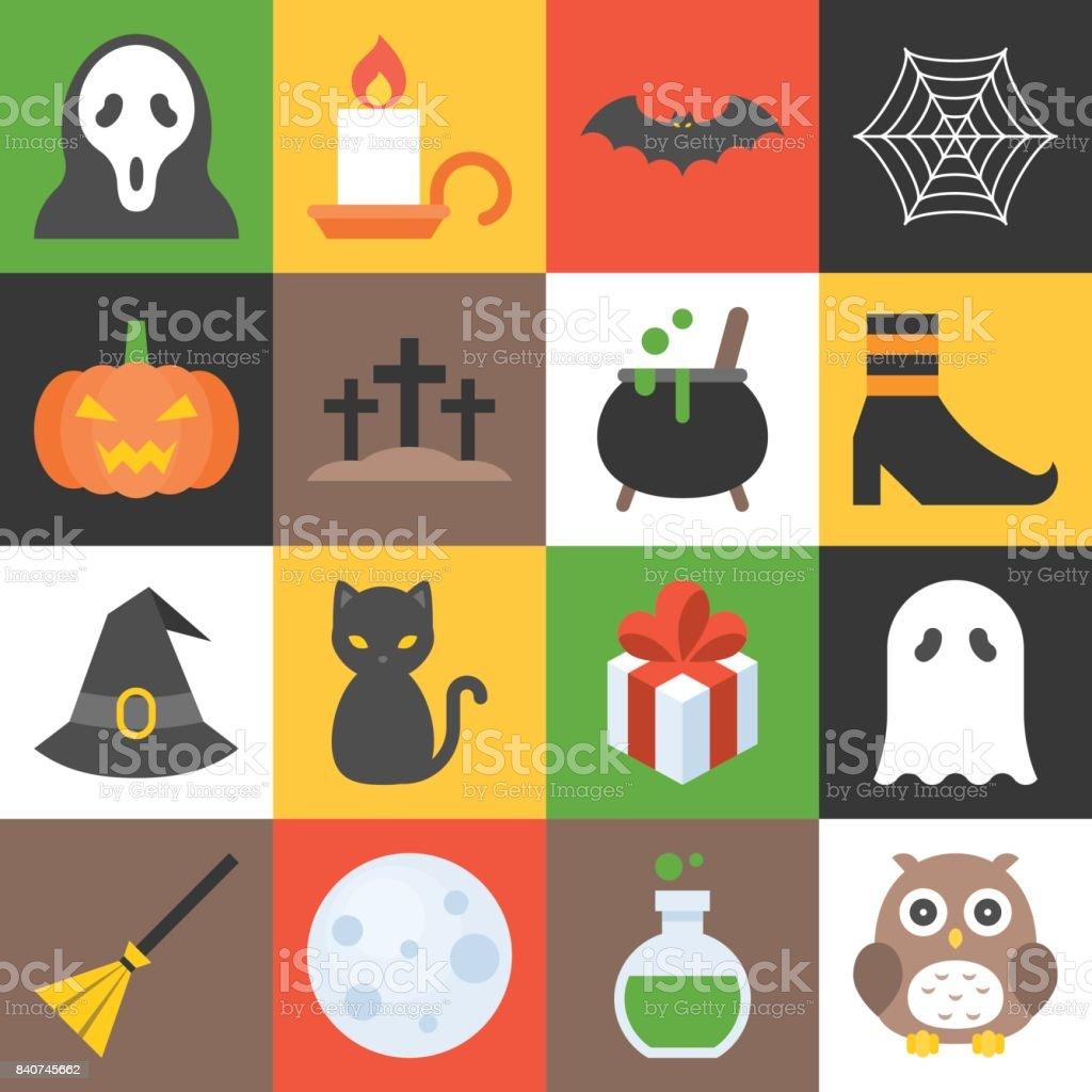 halloween icon set 3 vector art illustration