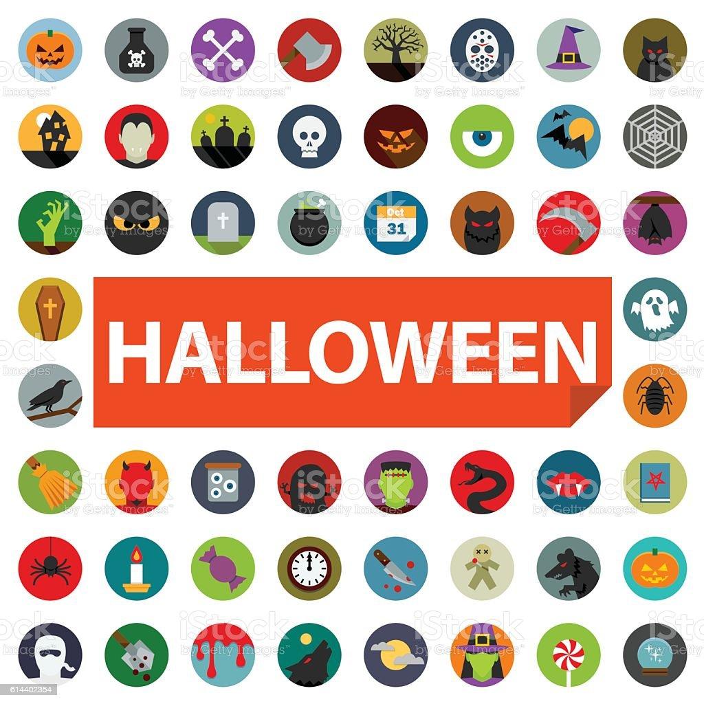 halloween icon set flat vector art illustration