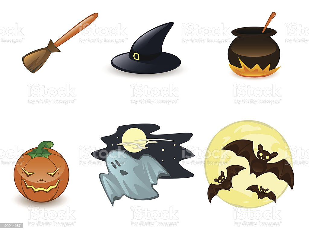Halloween icon set on white background royalty-free stock vector art