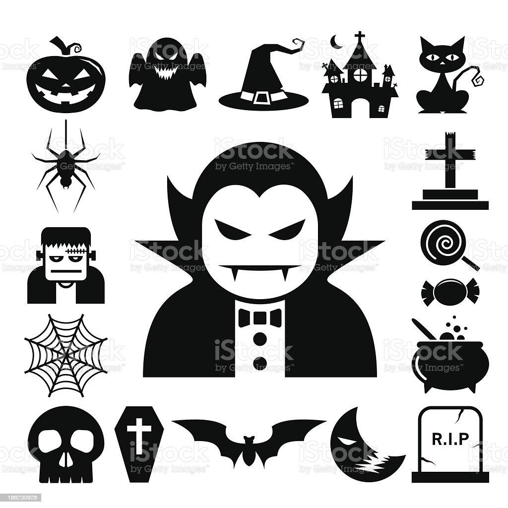 Halloween icon set. vector art illustration