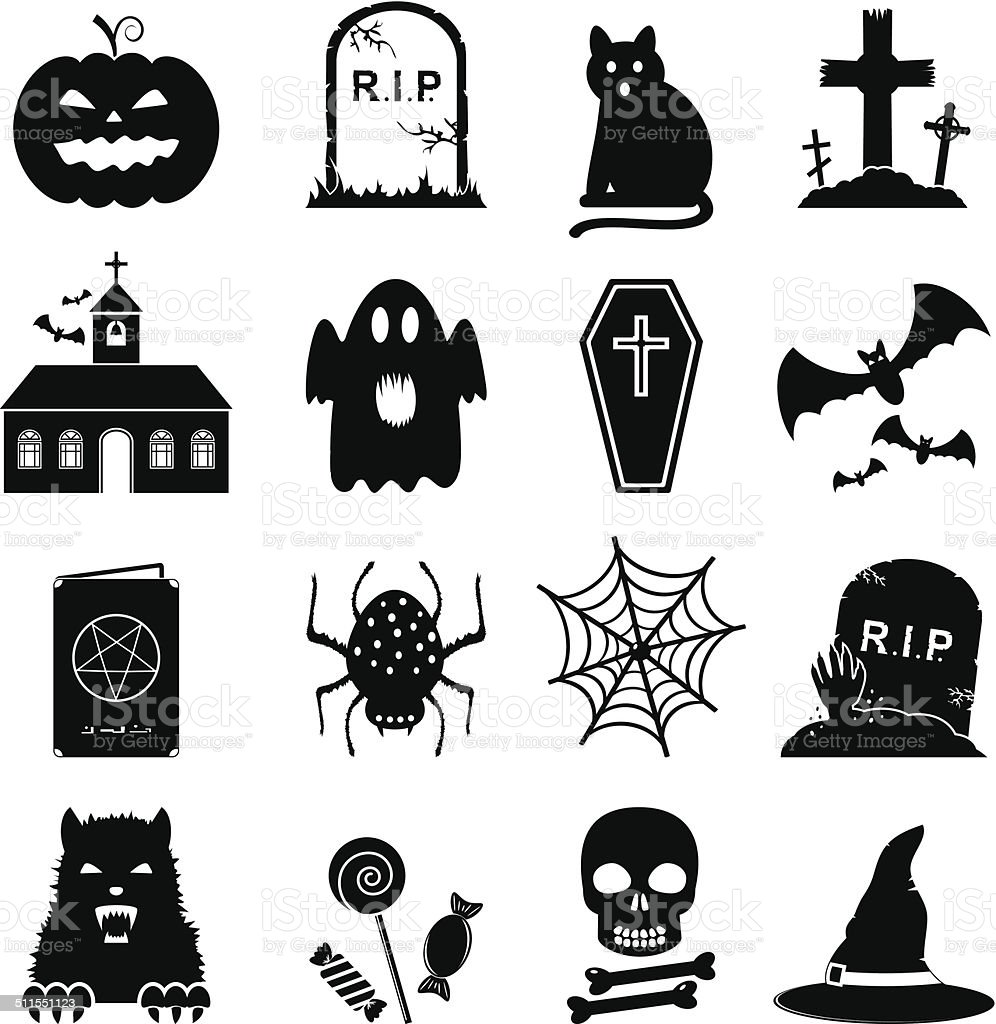 Halloween icon set vector art illustration