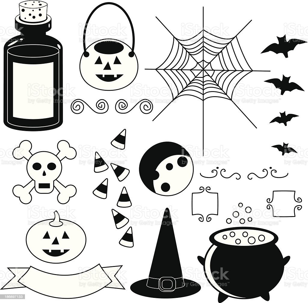 Halloween Icons, Black and White royalty-free stock vector art