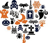 Halloween Icons in Heart Shape