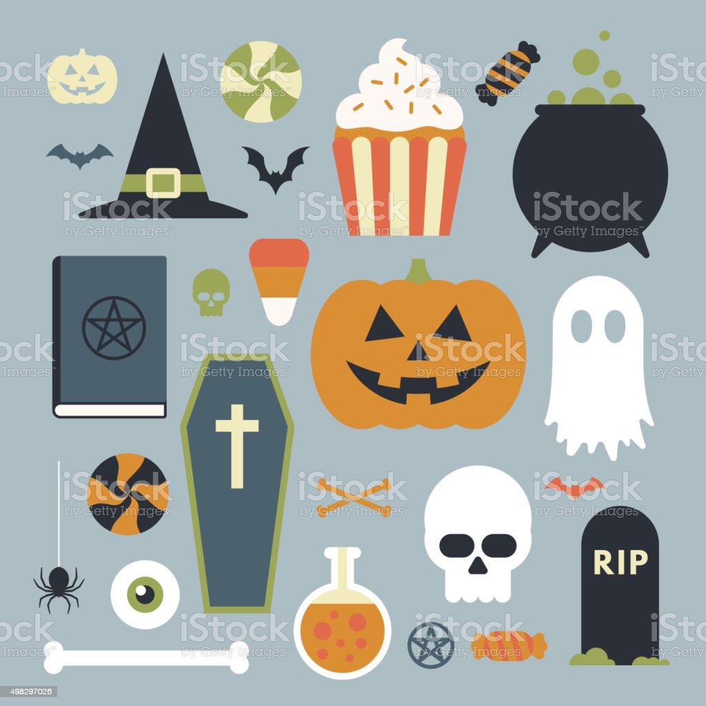 Halloween icons set vector art illustration