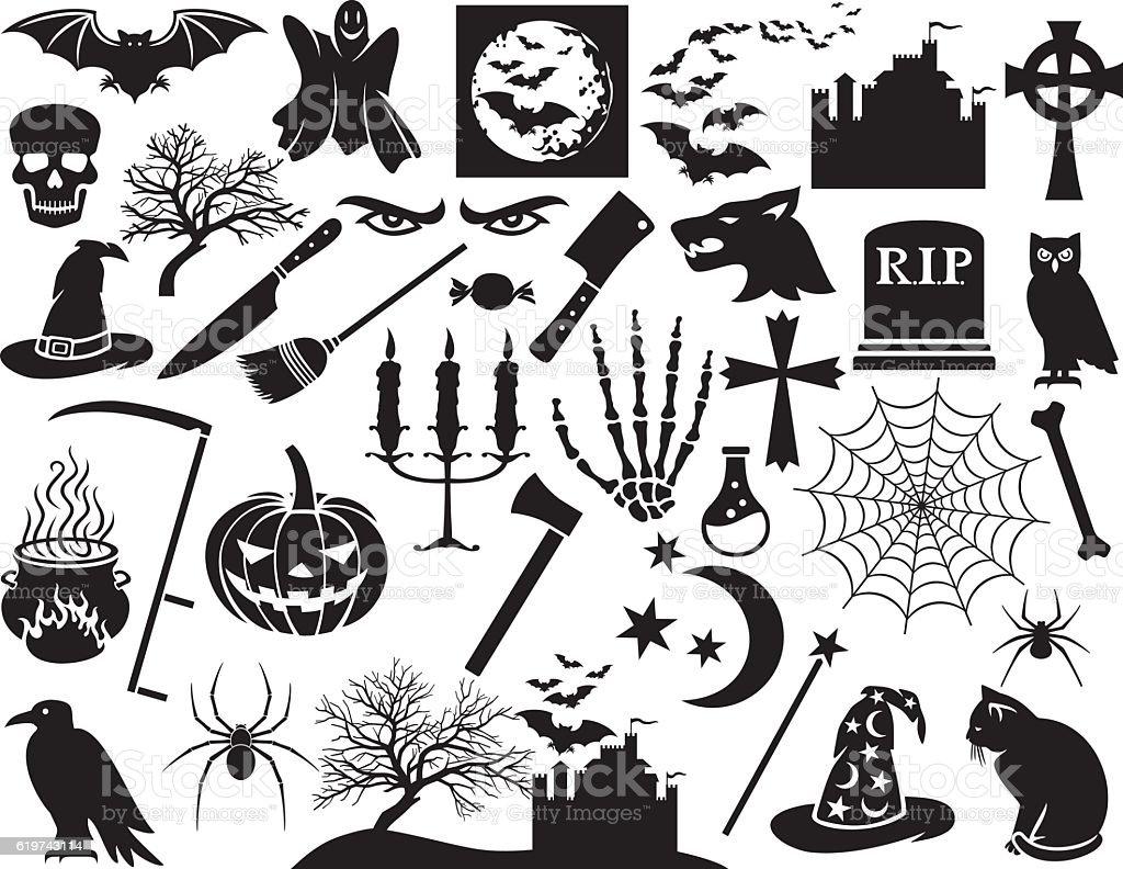 Halloween icons set (vector horror elements) vector art illustration