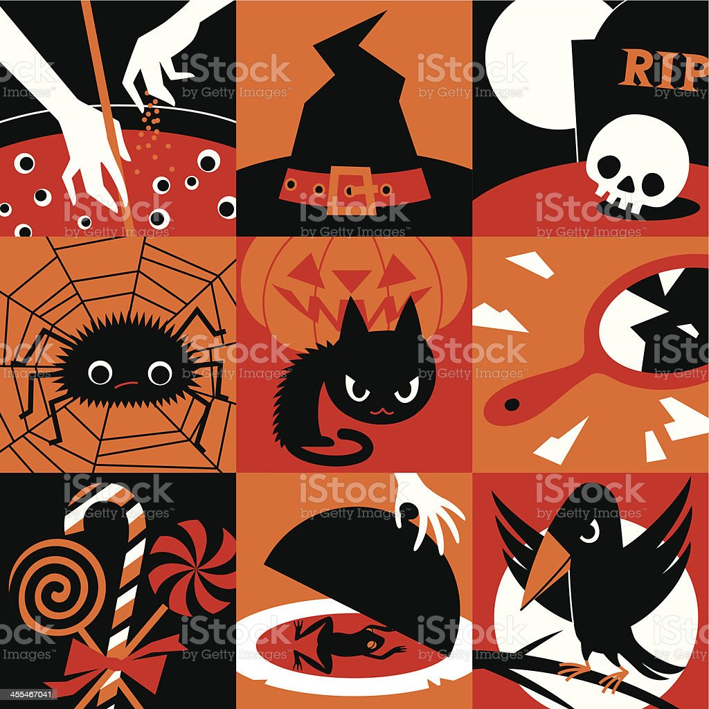 Halloween icons. vector art illustration