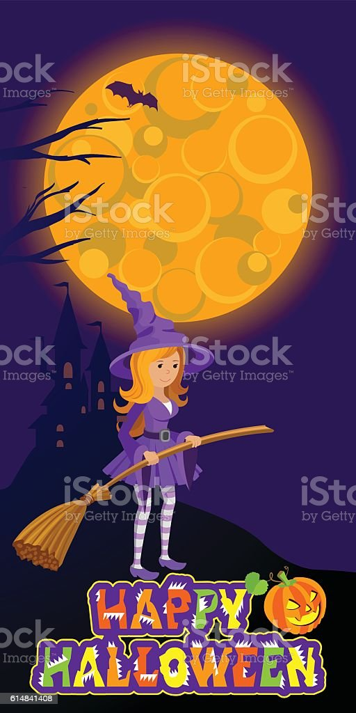 Halloween illustration of mysterious night landscape with castle full...