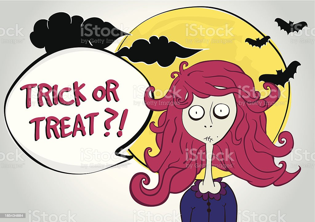 Halloween illustration with zombie girl royalty-free stock vector art