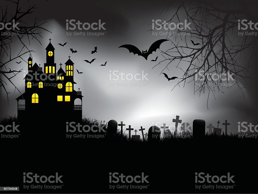 Halloween image of haunted house with bats and cemetery royalty-free stock vector art