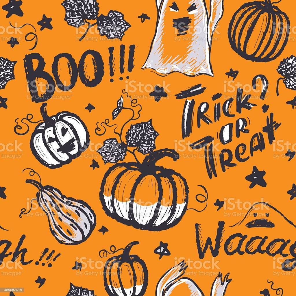 Halloween ink hand drawn ghosts and pumpkins with lettering seam vector art illustration