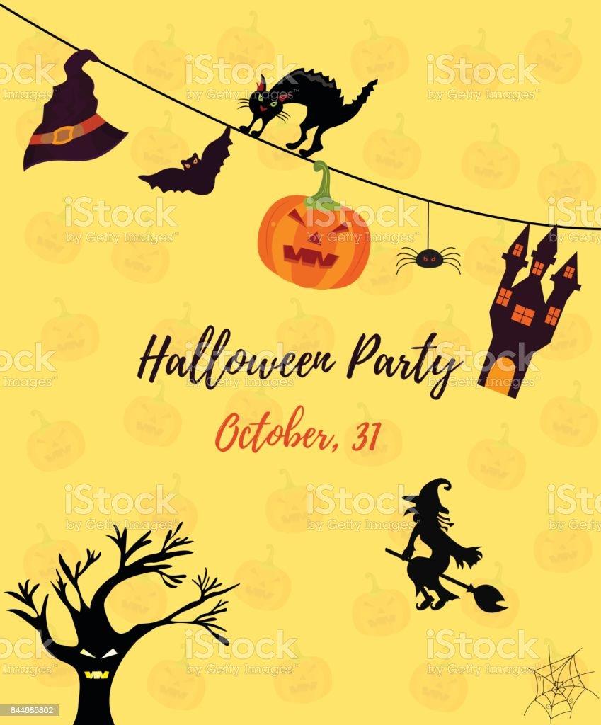 Halloween Einladungskarte Mit Katze, Geisterhaus, Kürbis, Hexe, Erschrecken  Baum Und Fledermaus Lizenzfreies