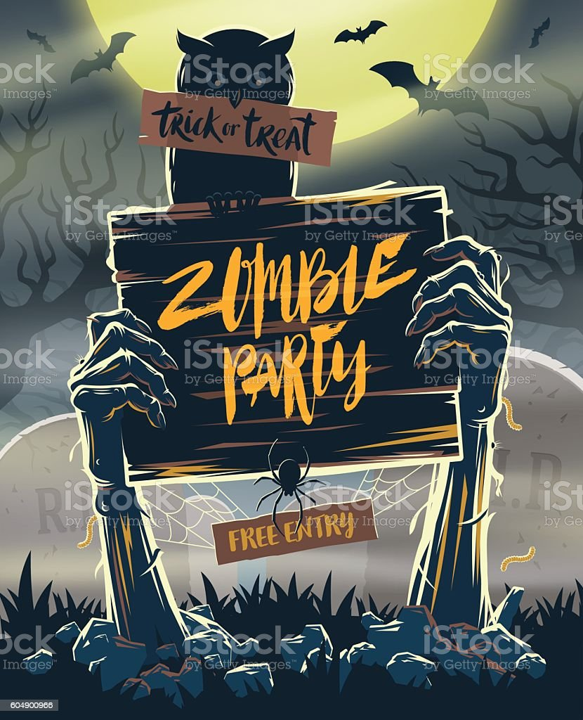 Halloween invitation poster - signboard in hands of zombies vector art illustration