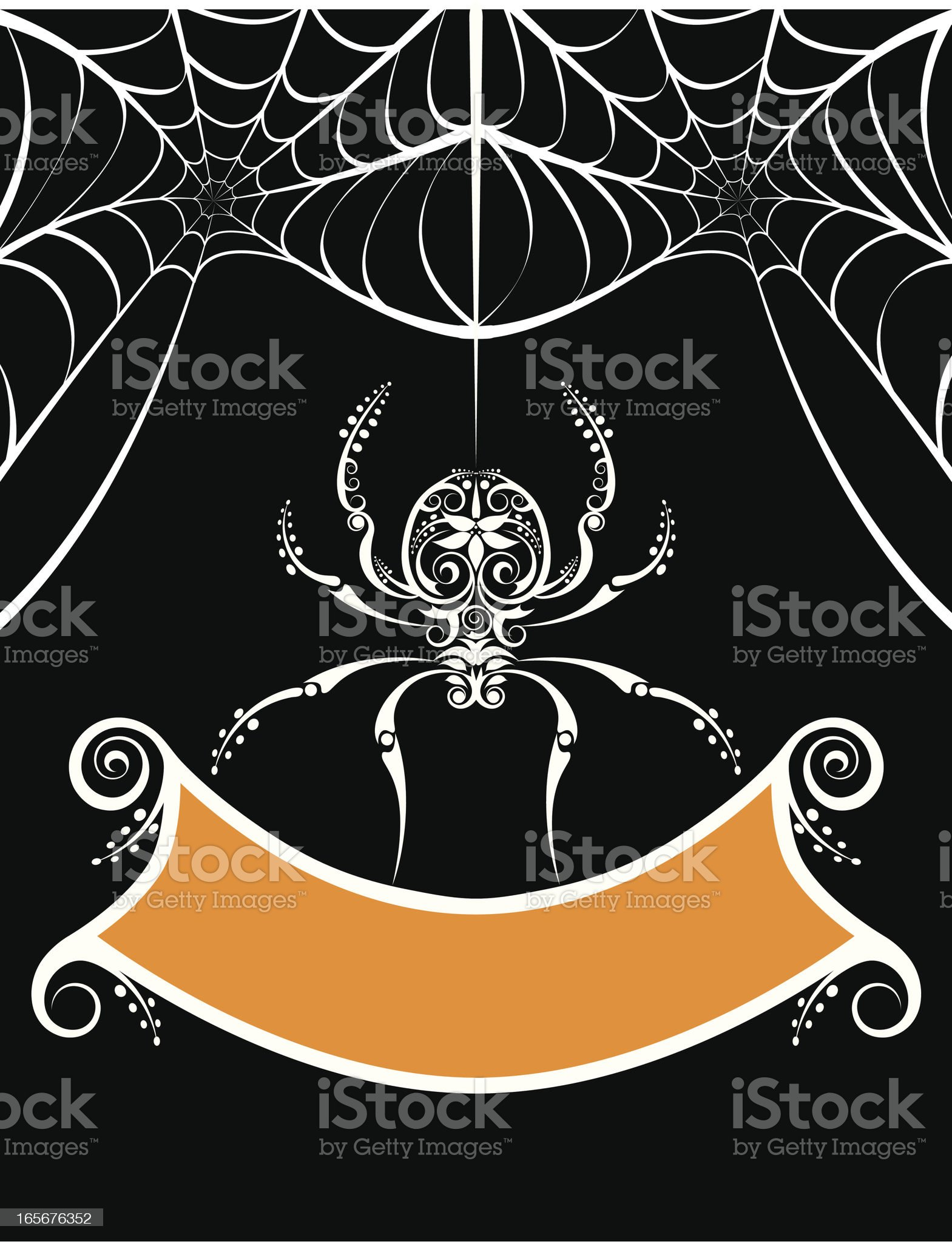 Halloween invitation template with spider and its web royalty-free stock vector art