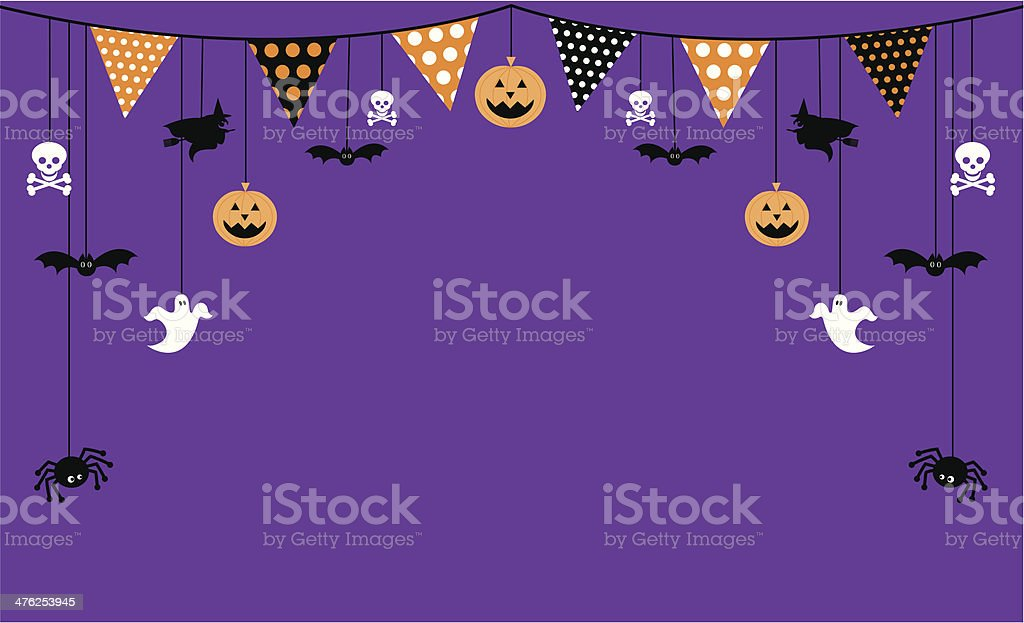 Halloween Invite with Bunting and Icons royalty-free stock vector art