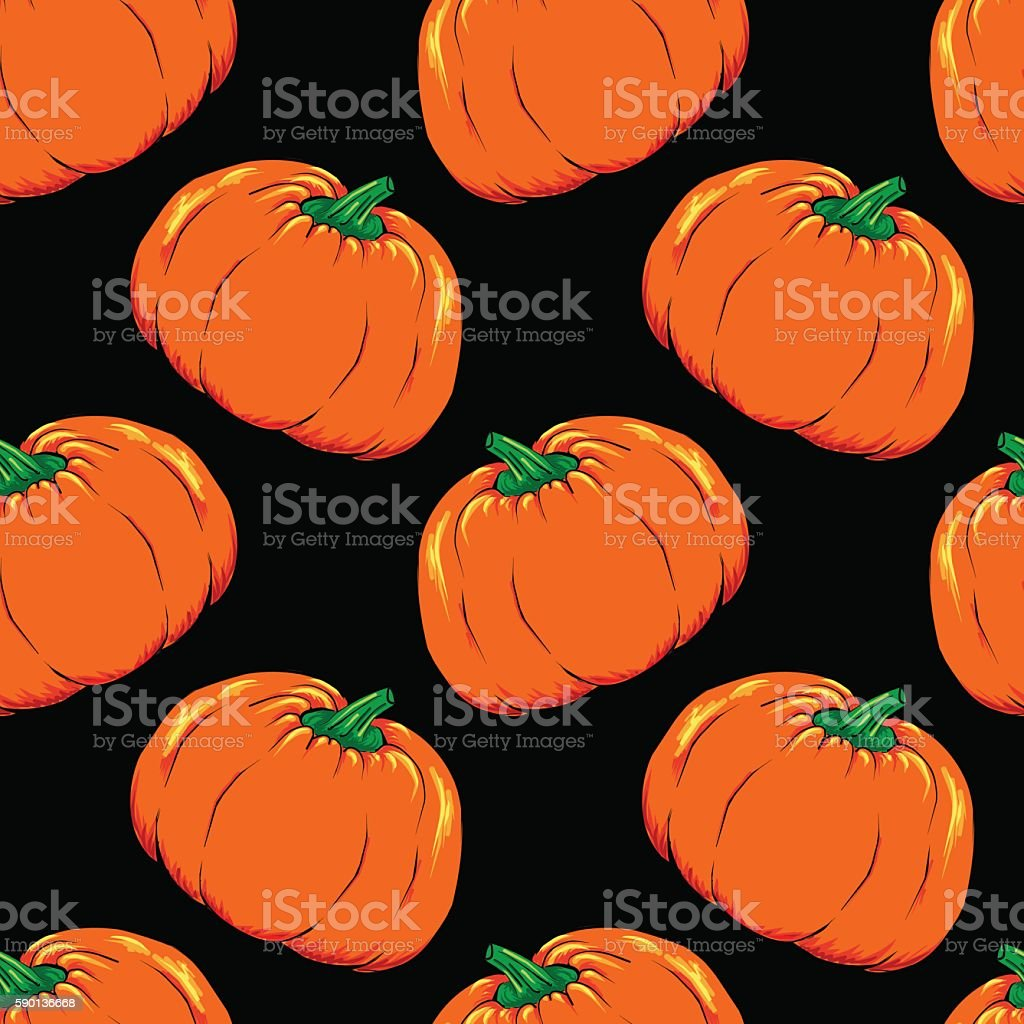 Halloween jack-o-lantern orange pumpkin vegetable seamless pattern vector vector art illustration