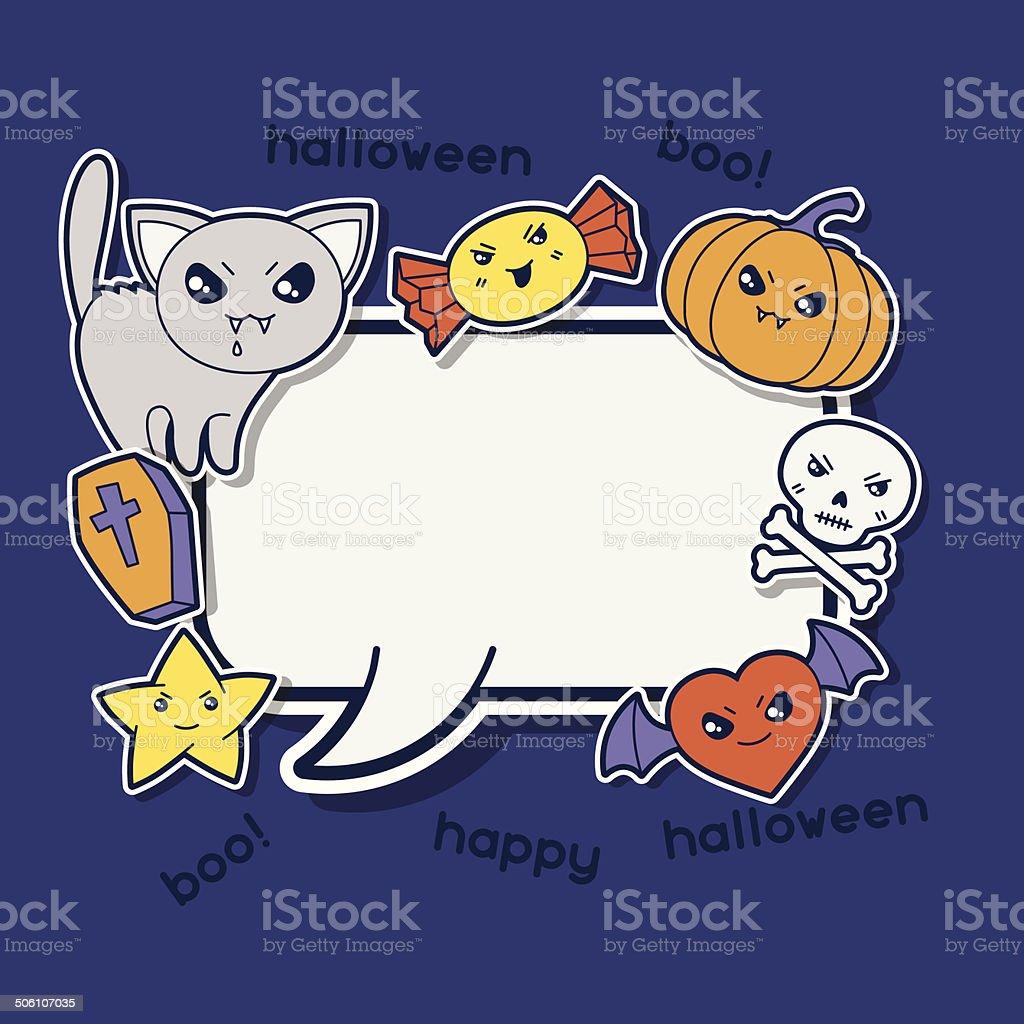 Halloween kawaii greeting card with cute sticker doodles. royalty-free stock vector art