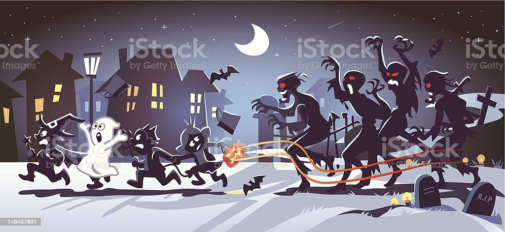 Halloween Kids Chased by Zombies vector art illustration