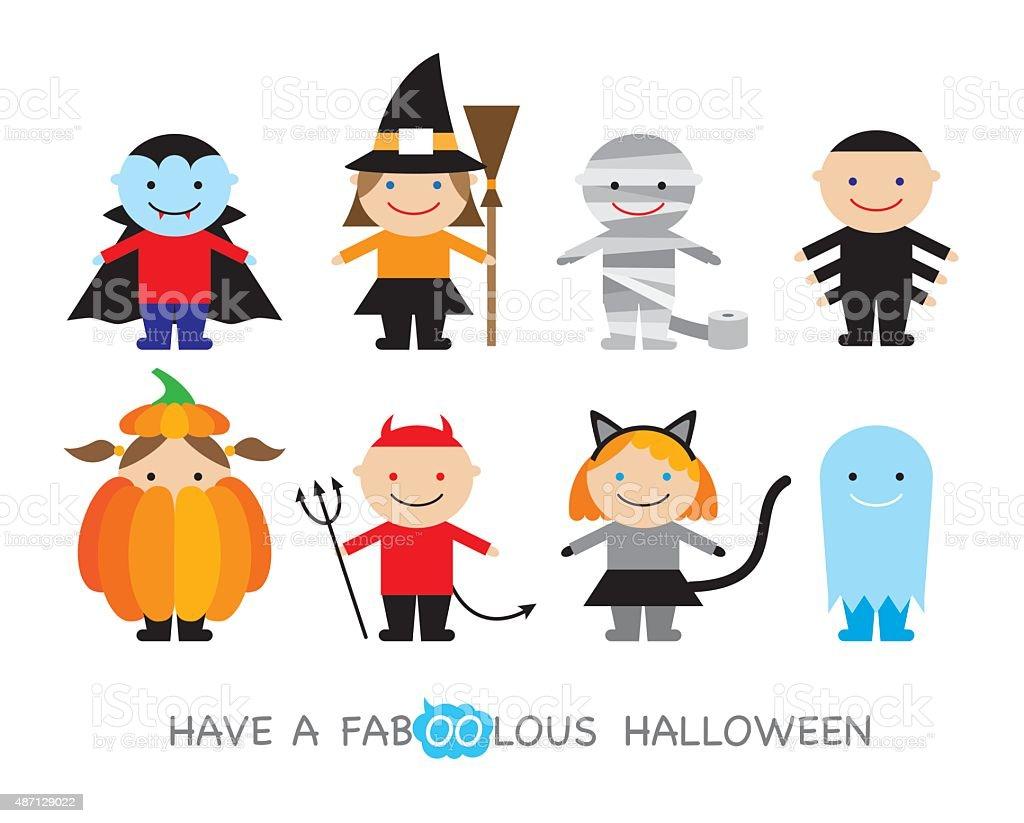Halloween kids costumes vector art illustration