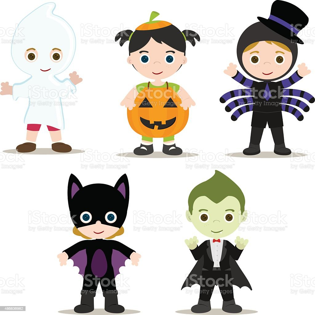 Halloween Kids vector art illustration